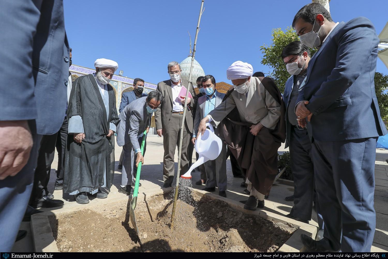 دیدار مسئولین منابع طبیعی فارس با آیت الله دژکام و کاشت یک اصله نهال در حرم مطهر شاهچراغ(ع)
