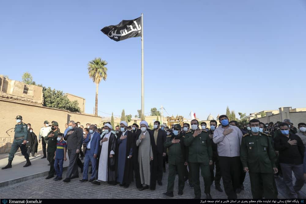 مراسم اهتزاز بیرق حرم مطهر امام حسین(علیه السلام) در بین الحرمین شیراز